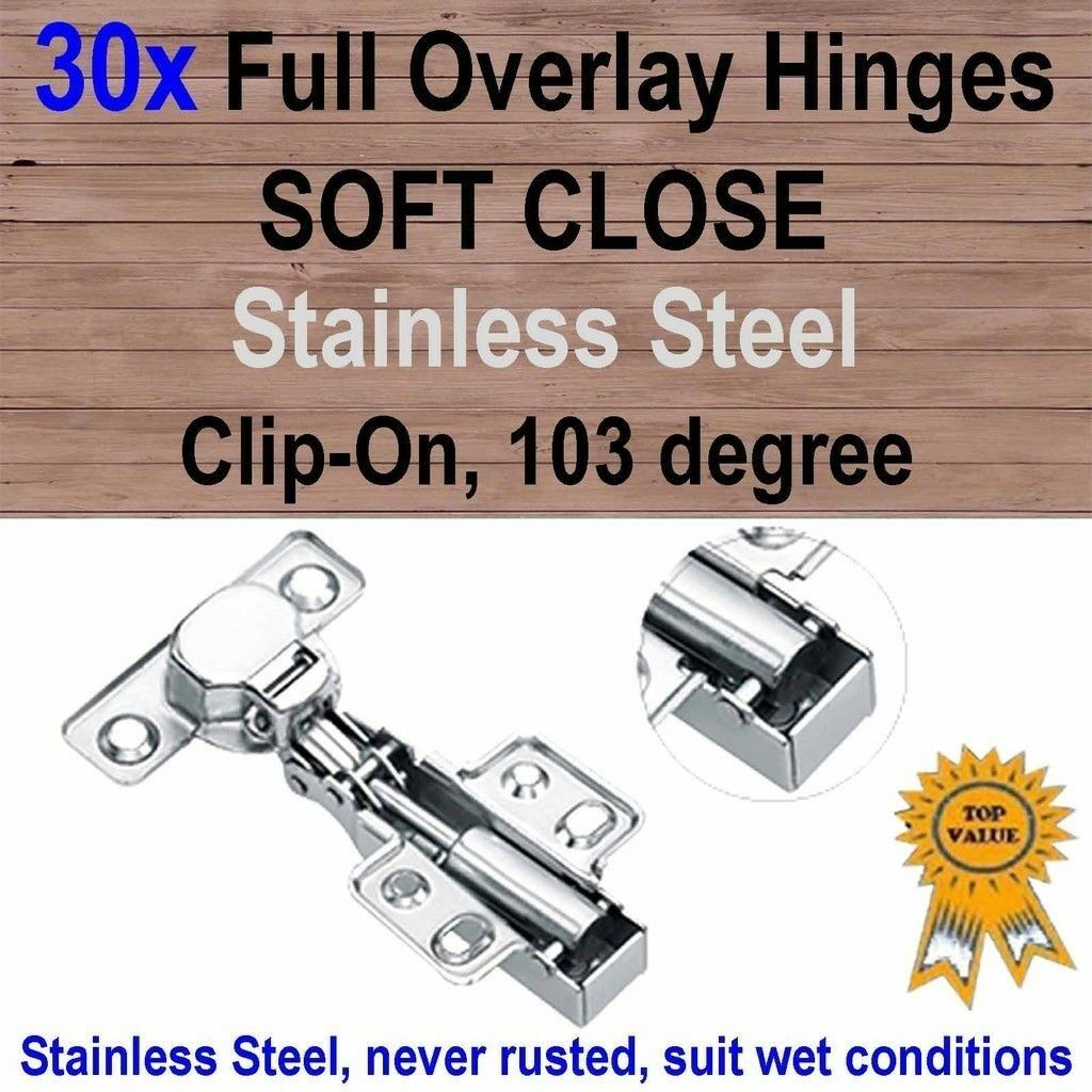 30xDoor Kitchen Cabinet Cupboard Soft Close Full Overlay Hinges -Stainless Steel
