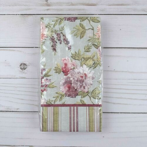 Paper Dinner Napkins Flowers Floral Stripes Gray Guest Towels Buffet 20 Count