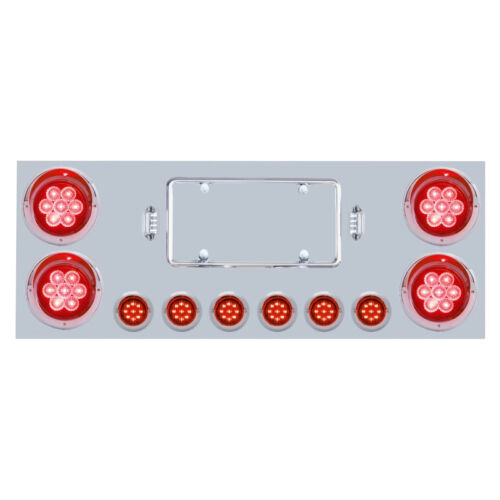 Rear Center Panel Stainless Steel with Red LED Lights for Semi Trucks