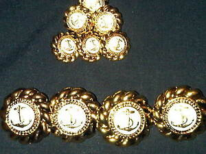 Naval Button set.Buttons Navy Uniforms,gold/<wbr/>white. Plastic, Military