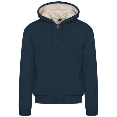 Men/'s Fur Lined Sherpa Fleece Winter Plain Hoodie Jacket Thick Hooded Zip Top