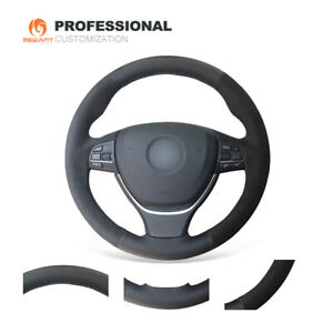 Black Genuine Leather Suede Car Steering Wheel Cover for BMW  F07 F10 F11 F18 M5