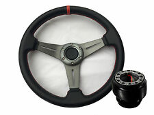 Mitsubishi Eclipse Mirage Galant Steering Wheel Silver Concave Red + Adapter Hub