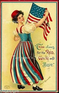 Vintage-4th-of-July-Fabric-Block-Red-White-and-Blue-Ellen-Clapsaddle