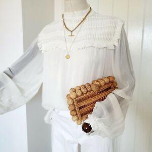 Reiss Cream Anoushka Sheer Shirred-Pleat Ruffle Boho Pretty Smock Loose Top 12