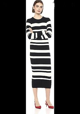 NWT Anthropologie Ella Moss Peyton Ribbed Sweater Striped Long Dress S