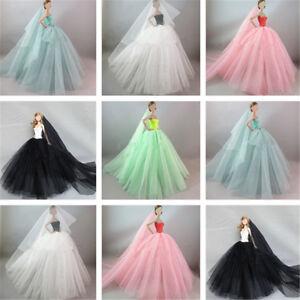 Handmade-Royalty-Princess-Dress-Wedding-Clothes-Gown-veil-for-Barbie-Doll