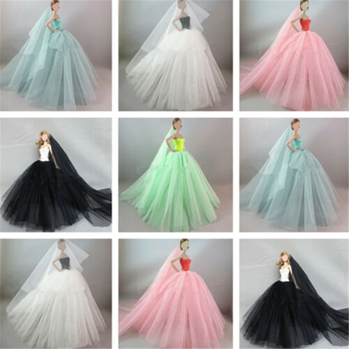 Robe de princesse royauté faite main Vêtements de mariage Robe voile