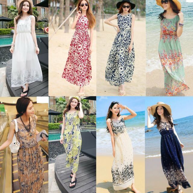 Sexy Women Summer Boho Long Maxi Dress Evening Party Beach Dresses Chiffon Dress