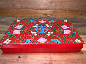"""Asian Red Lacquer Hinged Lid Smoking~Trinket Box, Hand Painted Floral Design 10"""""""