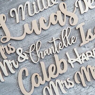 Script Names Letters Words MDF Personalised Book Art Wooden 20 fonts
