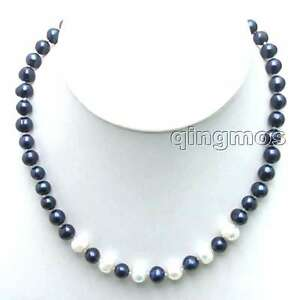 6-7mm-Black-Natural-Freshwater-Pearl-Necklace-for-Women-Chokers-17-034-White-Pearl