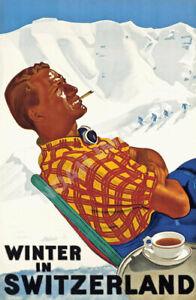Valais vintage swiss ski resort party travel poster repro 16x24