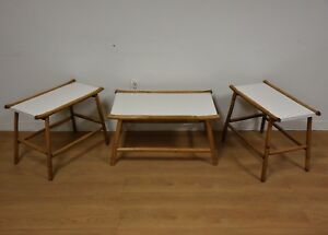 Image Is Loading Bamboo And White Formica Coffee Table End
