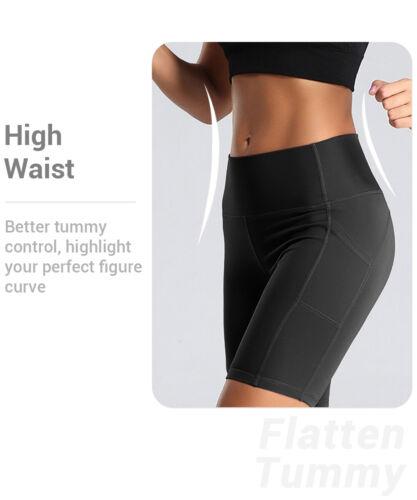 High Waist Yoga Shorts for Women Sport Leggings with Pockets Tummy Control