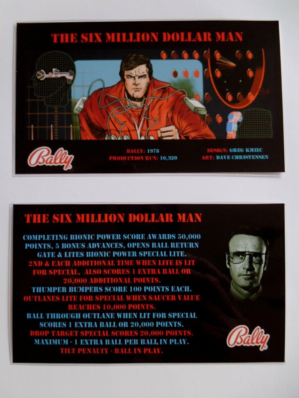 * 'THE SIX MILLION DOLLAR MAN' Bally 1978 Custom Instruction/Apron Cards * (New)