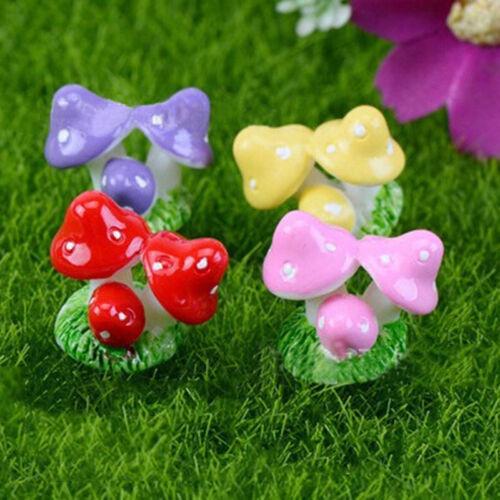 3x Mushroom Garden Ornament Miniature Figurine Resin Craft Plant Fairy Decor  HK
