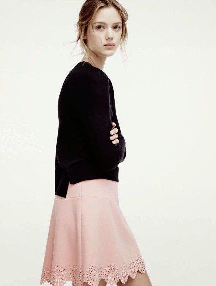 LOFT Ann Taylor Pink Scalloped Lasercut Skirt Ponte Knit  Women's size 12 NEW