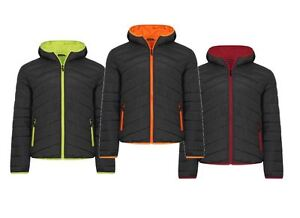 New Mens Vibrant Two Tone Puffer Padded Ribbed Hooded Jacket