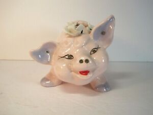 Vintage Ceramic Hand Made Smiling Pink Piggy Money Bank With Crystals & Flowers