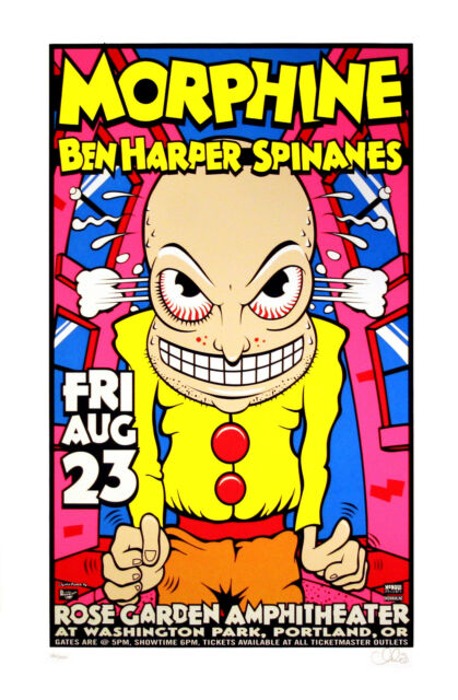 Morphine Ben Harper 1996 Original Concert Poster Portland OR Uncle Charlie S/N
