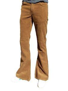 Dettagli su Uomo Flares Marroncino Bell Bottoms Vintage Indie Pantaloni Beige Hippie Retro