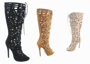 NEW-Women-039-s-Zip-Knee-High-Strappy-Caged-Cut-Out-Open-Toe-Dress-Sandals-SZ-5-10