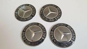 4 x65 mm Mercedes Logo Aufkleber Emblem 3D Selbstklebend  Raddeckel Aluminium