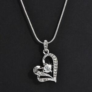 Love-Gift-Women-Charm-Rhinestone-Heart-Crystal-Pendant-Chain-Necklace-Jewelry