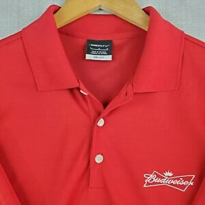 NIKE-GOLF-x-BUDWEISER-Large-Dri-Fit-Polo-Shirt-Mens-Short-Sleeve-Breathable-Red