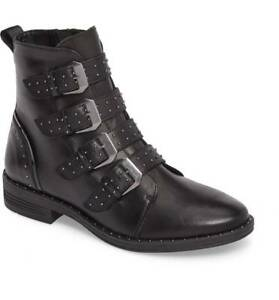 52ca85d1295 Details about Steve Madden Pursue Boots Buckled Straps Stud Zip Black  Leather Shoes Moto Biker