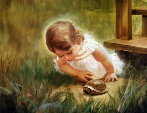 Child Baby DIY Paint By Number Kit Digital Oil Painting  Linen No Framed Decor
