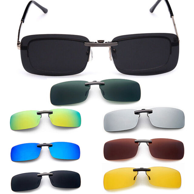 Men's Sunglasses Polarized Clip On Driving Glasses Day Night Vision Lens UV400