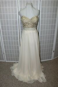 NWT Size 16 Nude Tony Bowls 115719 long beaded chiffon formal evening gown