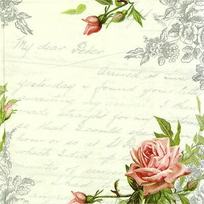 4x Paper Napkins for Decoupage Decopatch Craft Love Roses