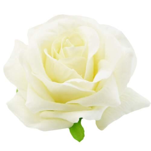 White Velvet Rose Hair Clip Brooch Flower Rockabilly Pin Up Wedding Races Prom
