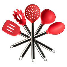 Kitchen Silicone Spatula Cooking Utensil Set Of 5 St Steel Handle Baking Serving