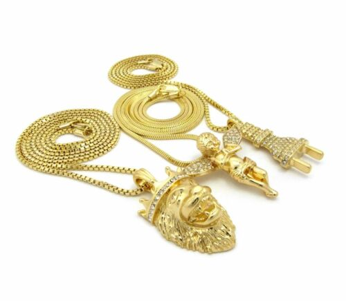 MENS POWER PLUG MICRO ANGEL LION RED RUBY ANKH BOX CHAIN 3 NECKLACE SET