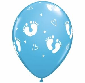 Baby-Feet-Robins-Egg-Blue-latex-balloons-x-5