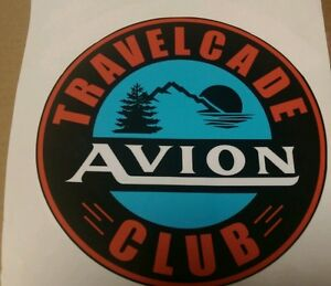 Avion-Vintage-style-Travel-Trailer-Decal-Travelcade-Club-8-1-2-034-Set-of-2