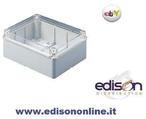 CASSETTA-DI-DERIVAZIONE-STAGNA-IP56-190x140mm-PARETI-LISCE-COPERCHIO-TRASPARENTE