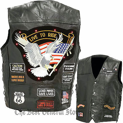 LED Light Motorcycle Safety Mens Black Leather Vest Waistcoat with 14 Patches