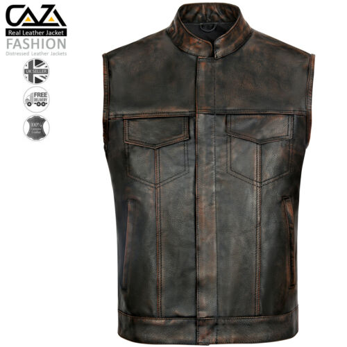 Mens Sons of Anarchy Genuine Real Leather Motorcycle Biker Gillet Waistcoat Vest
