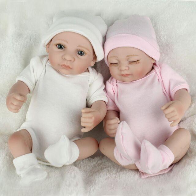 Twins baby dolls lifelike newborn babies full body vinyl silicone boygirl doll