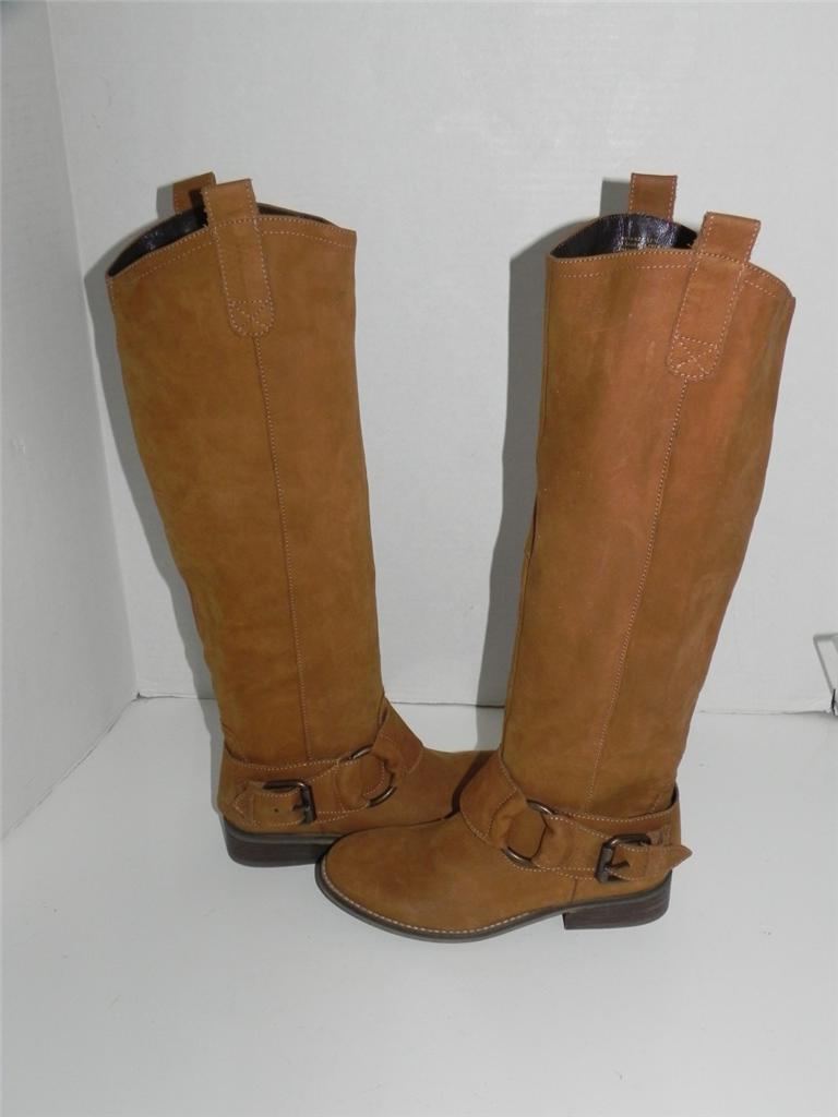 Steve Madden Bankker Cognac Braun Leder Buckle Stiefel 5.5 NEU