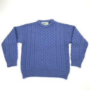 Aran Crafts Ireland Women's 100% Merino Wool Crew Neck Sweater Blue Sz S