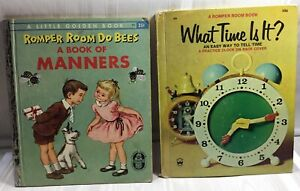 2-ROMPER-ROOM-Books-a-Little-Golden-Book-Of-Manners-What-Time-Is-It-Vintage