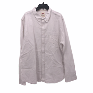 Levis-Mens-2XL-XXL-Solid-White-Long-Sleeve-Button-Front-Oxford-Cotton-Shirt