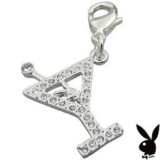 RARE Playboy Charm Silver Bunny Martini Glass Swarovski Crystal Lobster Clasp 32