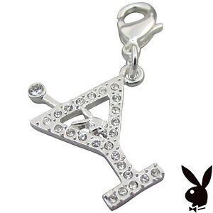 Playboy-Charm-Bracelet-Bunny-Martini-Glass-Crystal-Silver-Y-CZ-Necklace-RARE-NOS